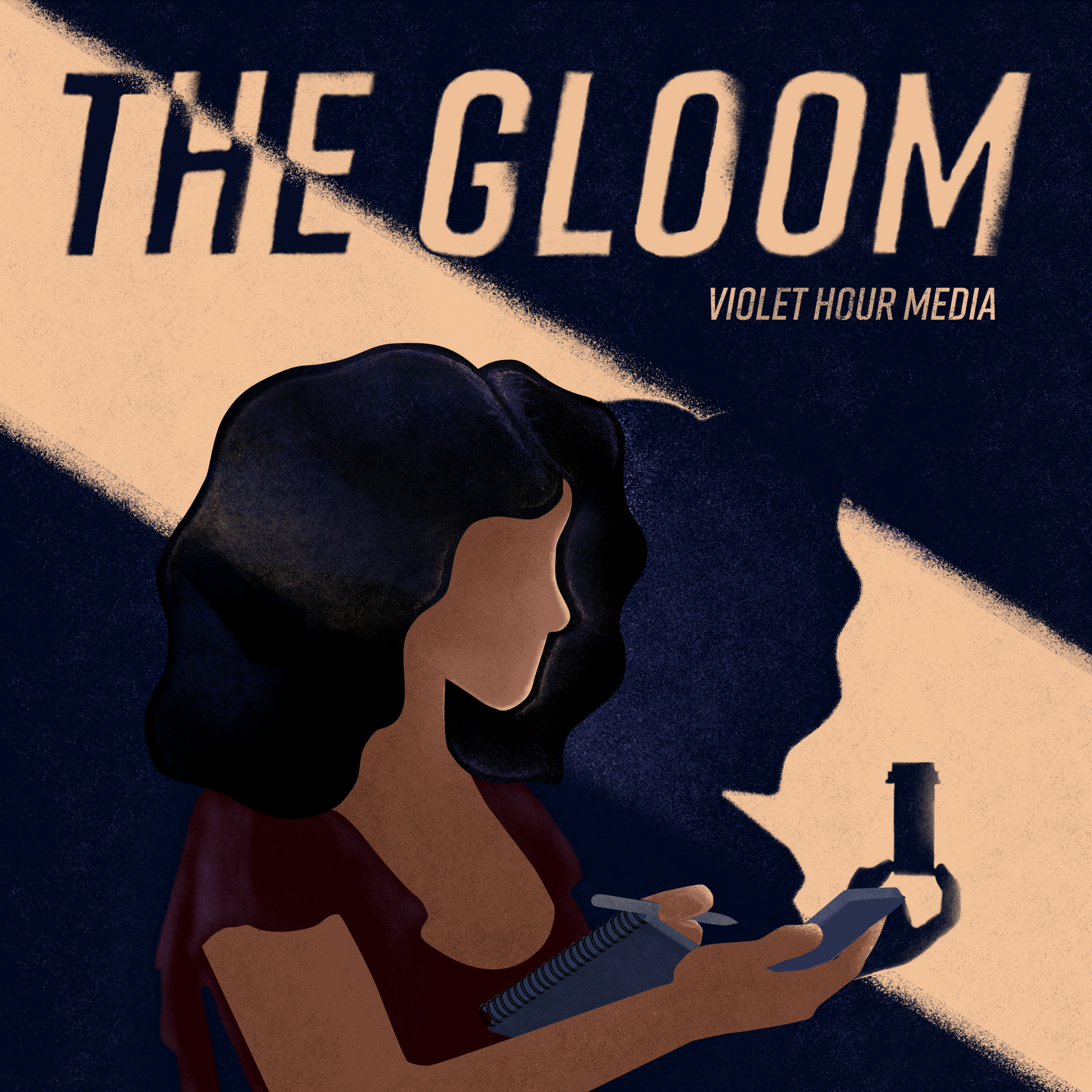 """Cover art for The Gloom. A lineless, featureless digital painting of a medium-brown-skinned Black woman holding a notebook, pen, and recorder. The shadow cast on the wall behind her by a streak of beige light doesn't match her; instead it provides the vague outline of someone holding up a prescription pill bottle. The words THE GLOOM appear at the top in large capital letters; """"Violet Hour Media"""" appears slightly to the right and below it in smaller text."""